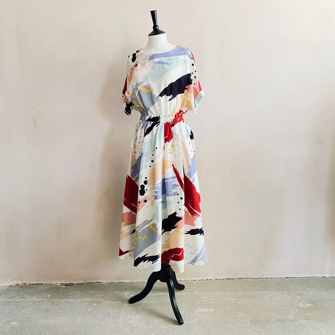 Water paint pattern colourful long dress-Ivory