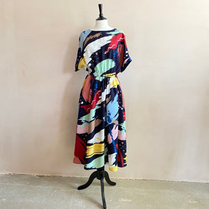 Watercolour paint pattern colourful long dres-Navy