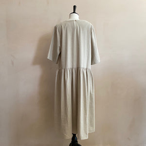 Linen-Mix Half Sleeve Peasant Dress-oatmeal