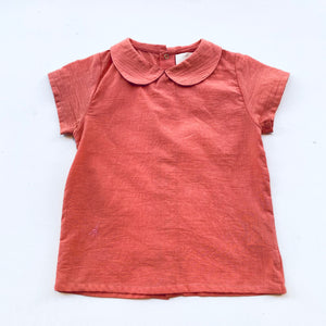 Plants dye Organic cotton SS Collared Shirt -Coral-