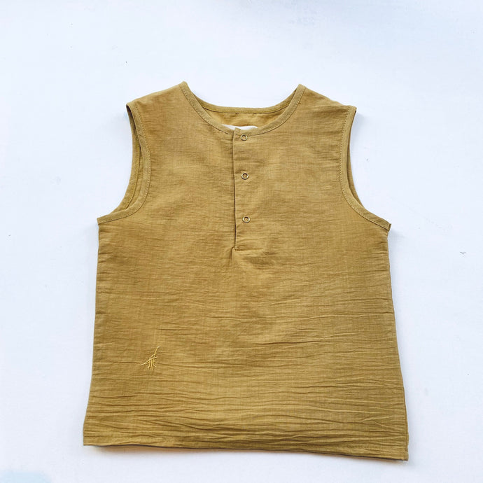 TANK WOVEN ORGANIC COTTON -Yellow-