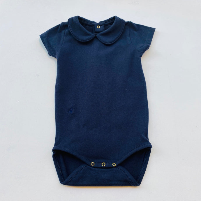 SS Collared Bodysuit -Navy Blue-