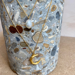Crescent Moon & Cotton Pearl Layered Necklace - Gold