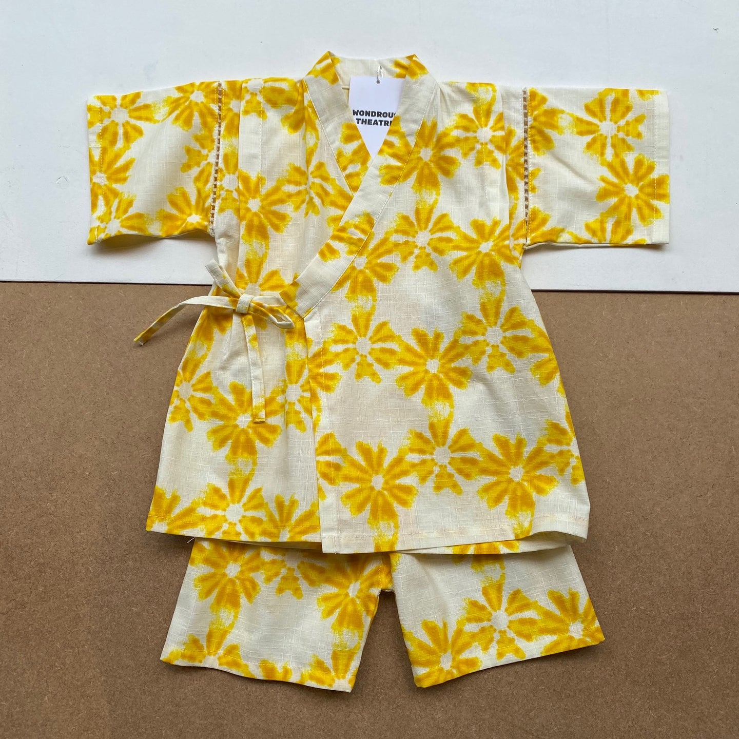 Japanese Jinbei Top and Shorts Set -Flower dye Yellow-