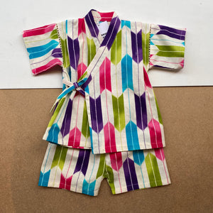 Japanese Jinbei Top and Shorts Set -Bow pattern Purple-