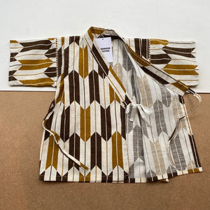Japanese Jinbei Top and Shorts Set -Bow pattern Brown-