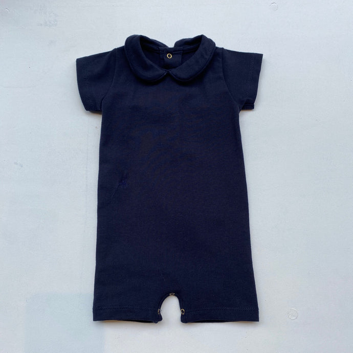 SS Collared Bodysuit with shorts -Navy-