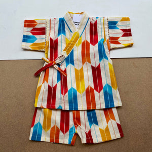 Japanese Jinbei Top and Shorts Set -Bow pattern Red-