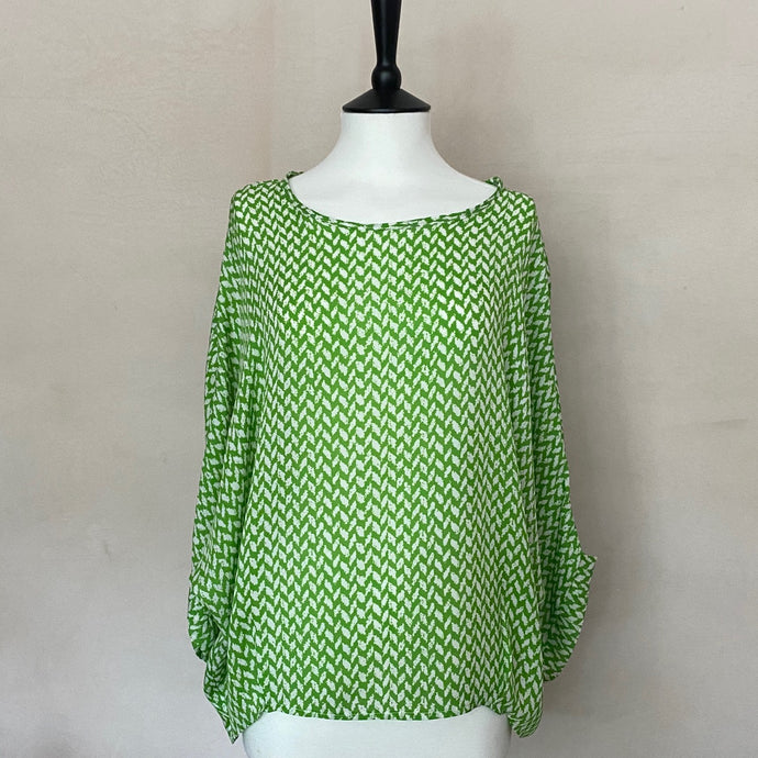 Leaf Print Silk Top -Green-