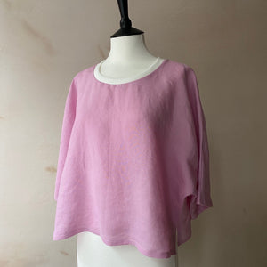Irish Linen Cropped top -Pale Pink-