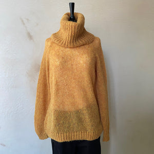 Emine Loom Roll Neck Raglan Jumper -Amber-