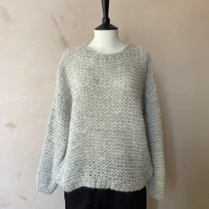 Michi Loop Alpaca Jumper -Mix Light Grey & White-