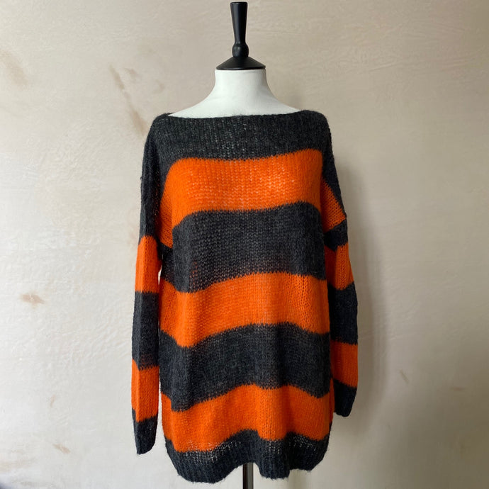 Aloisa Loom Stripe Alpaca Jumper -Anthracite Grey with Orange stripe-