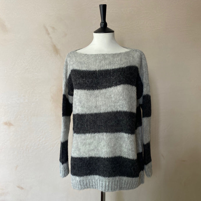 Aloisa Loom Stripe Alpaca Jumper -Light Grey with Anthracite grey stripe-
