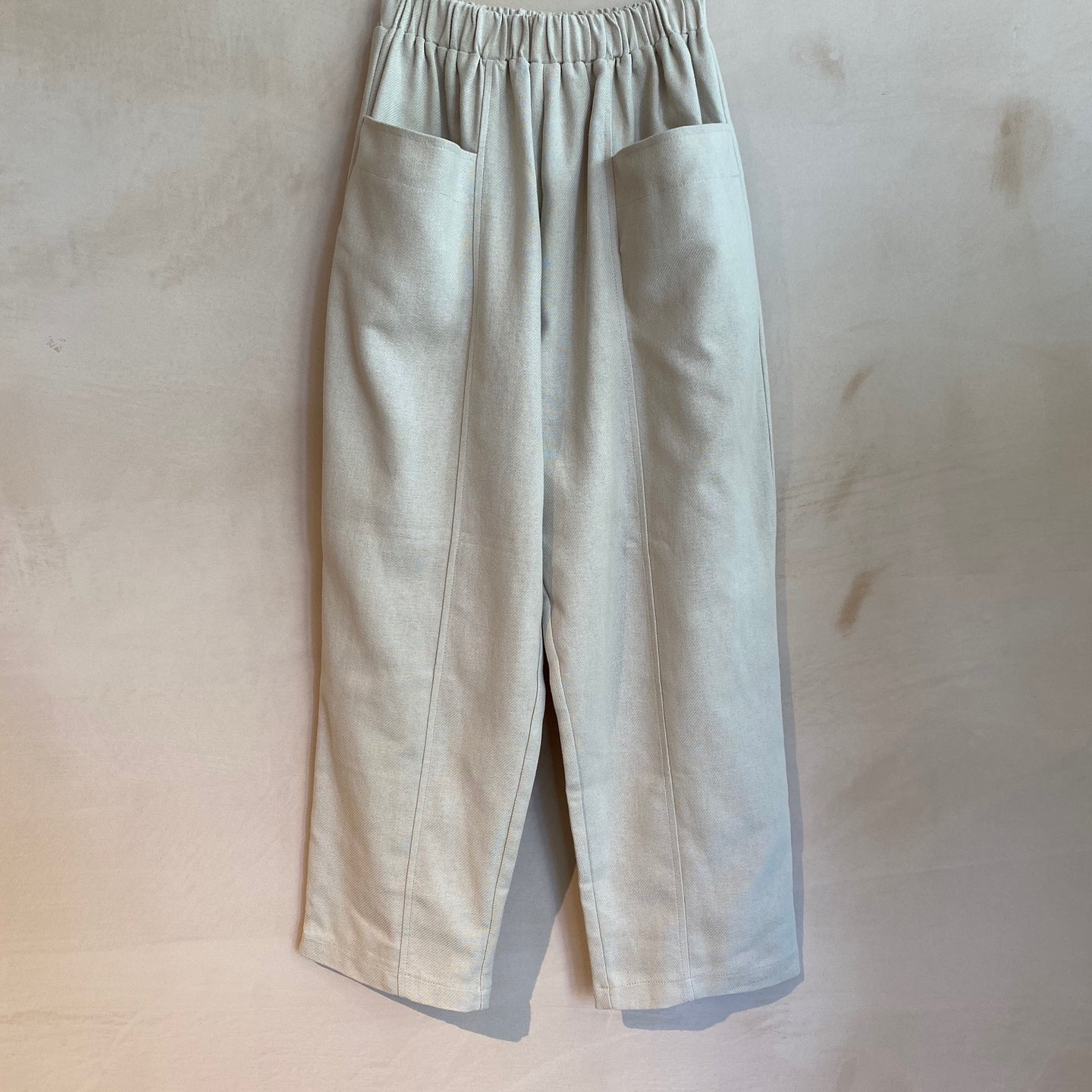 Full Length baggy Trousers with Floppy Front Pockets-Ivory