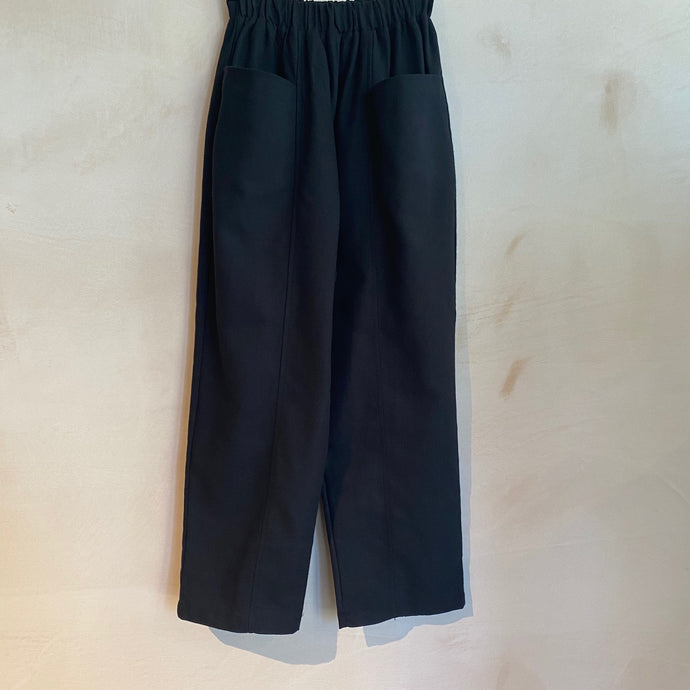 Full Length baggy Trousers with Floppy Front Pockets-Black