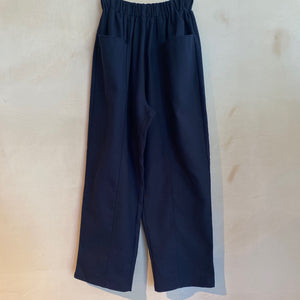 Full Length baggy Trousers with Floppy Front Pockets-Navy
