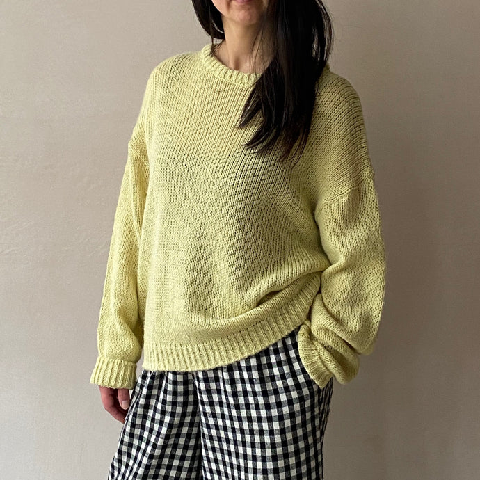 Round neck pastel Knit -Yellow-