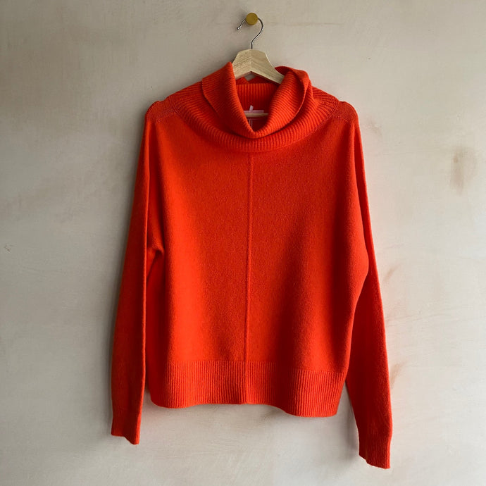 Polo neck jumper-Orange-