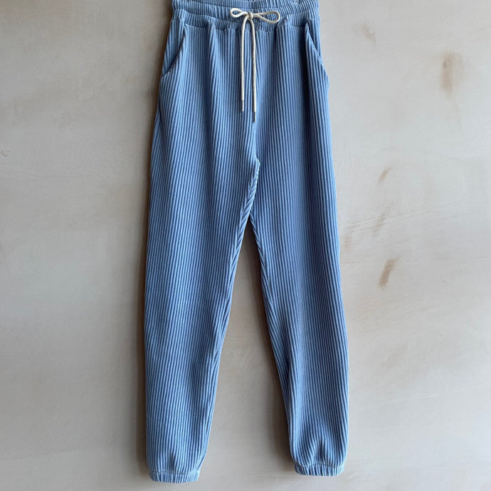 Corduroy jogger trousers -Light Blue-