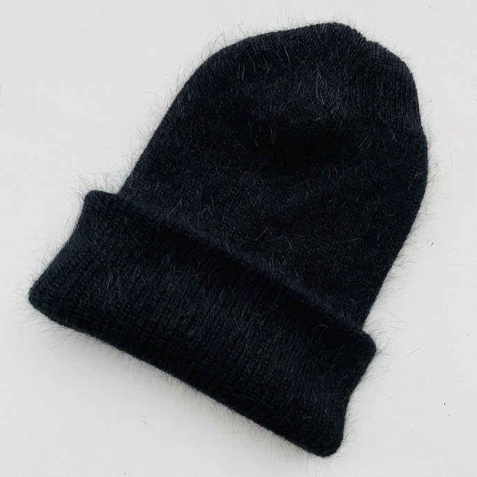 Fluffy Angora knit Beanie-Black-