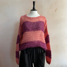 Michele & Hoven Hand knitted Alpaca Sunny Loop -PinkxBeetroot Stripe-