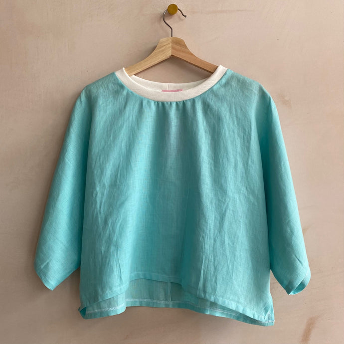 Irish Linen Cropped top -Turquoise-