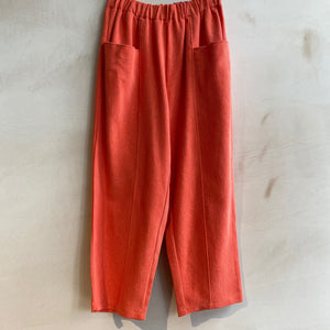 Cropped Baggy Trousers with Floppy Front Pockets -Coral-