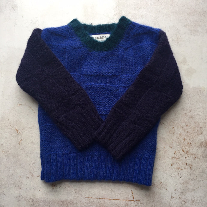 Alpaca Piper chunky colour block crewneck-Blue/Navy/Pine-, Children clothes, aymara, WondrousTheatre,