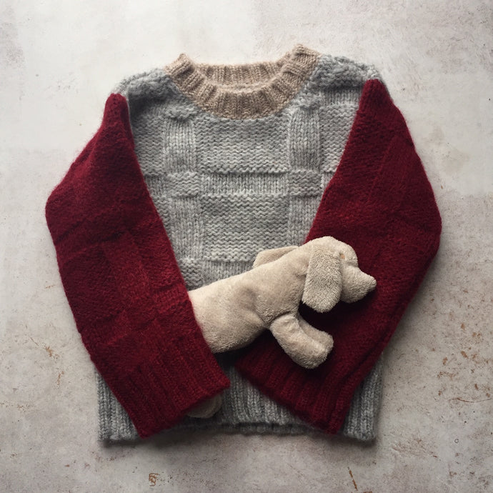 Alpaca Piper chunky colour block crewneck-Grey/Wine/Camel-, Children clothes, aymara, WondrousTheatre,