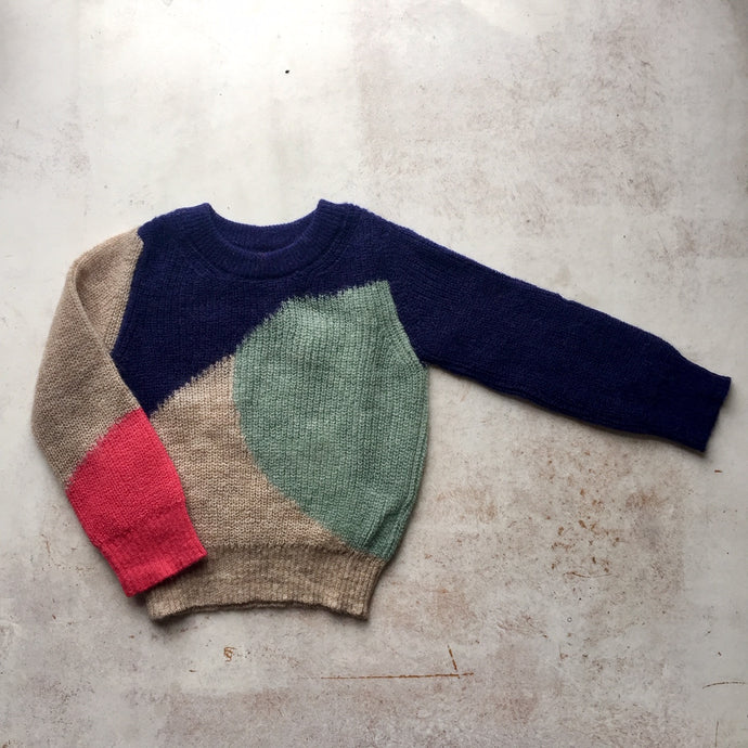 Alpaca knit wear Brooke intarsia knit crewneck-Navy, Children clothes, aymara, WondrousTheatre,