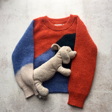 Alpaca knit wear Brooke intarsia knit crewneck-Panache(Orange), Children clothes, aymara, WondrousTheatre,