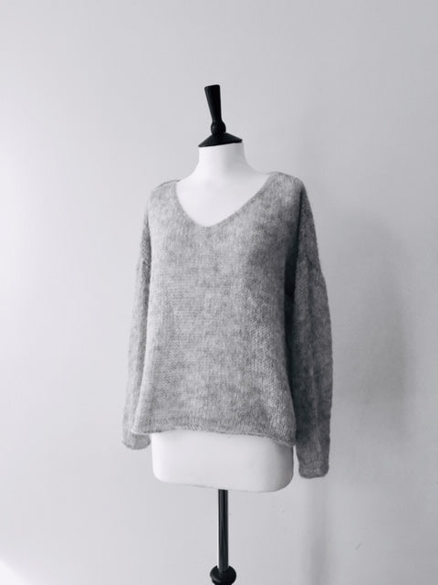 Alpaca hand knitted Millennia Loom Jumper-Light Grey, knit wear, Michel&Hoven, WondrousTheatre,
