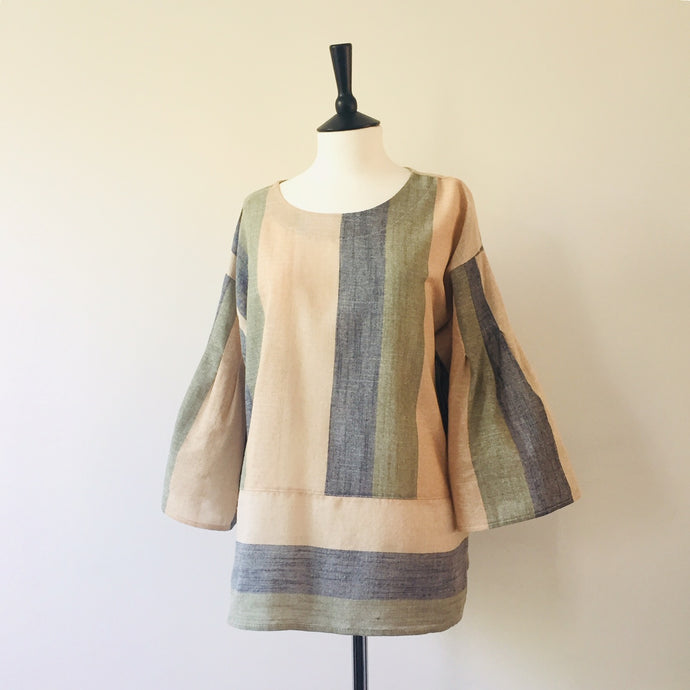 Multi Colour vertical stripe Linen top-khaki, Tops, WondrousTheatre, WondrousTheatre,