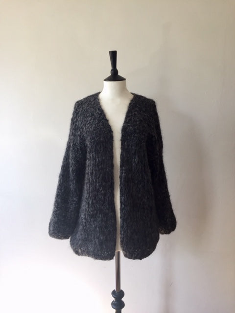 Alpaca hand knitted Pretty Loop Cardigan-Grey, knit wear, Michel&Hoven, WondrousTheatre,