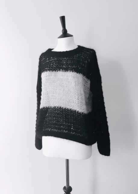 Alpaca hand knit BlackxGrey Striped Jumper, knit wear, Michel&Hoven, WondrousTheatre,