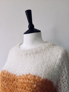 Alpaca hand knit OrangexWhite Striped Jumper, knit wear, Michel&Hoven, WondrousTheatre,