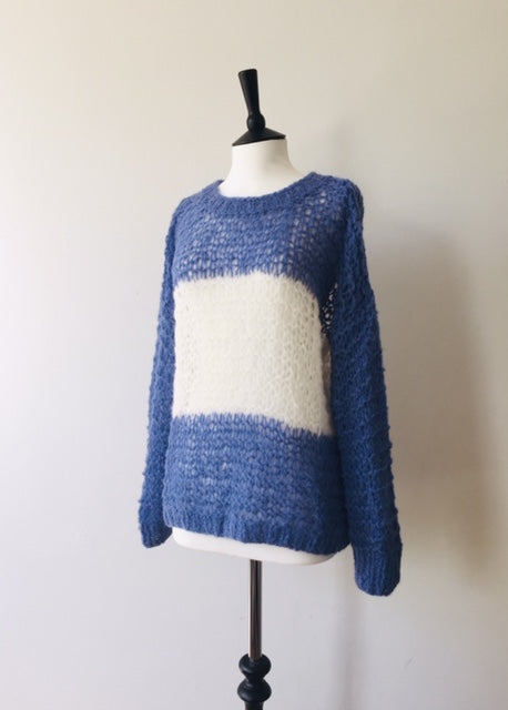 Alpaca hand knit BluexWhite Striped Jumper, knit wear, Michel&Hoven, WondrousTheatre,