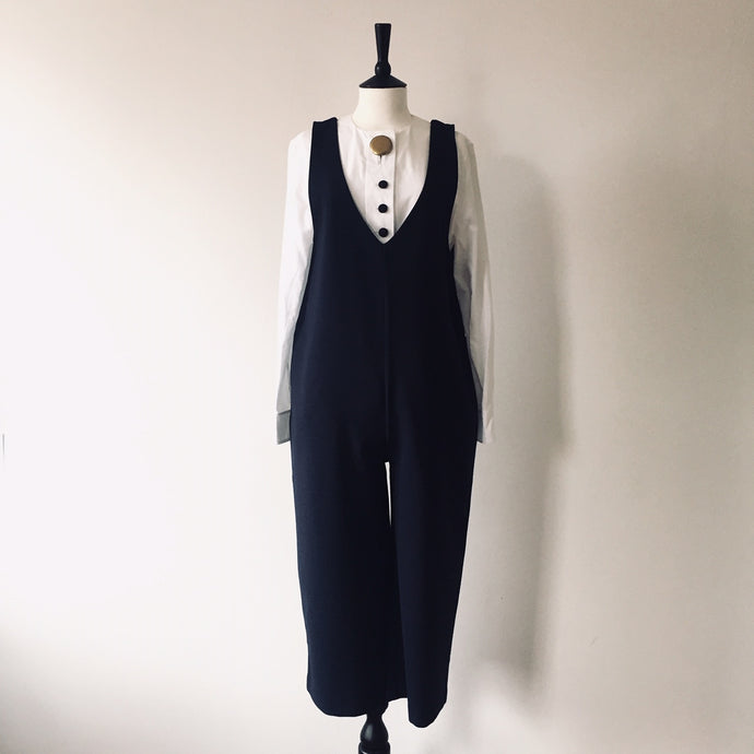 V neck jumpsuits-Navy