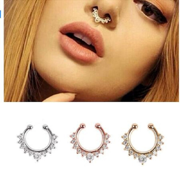 Crystal Fake Septum Nose Ring for Women - Thejewellerystyle