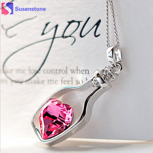 3-Colors Heart Crystal Pendant Necklace - Thejewellerystyle