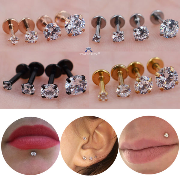 Stone Nose Piercing Labret Ear Helix Lip - Thejewellerystyle