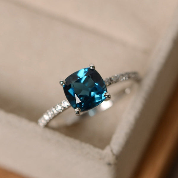 Square Sky Blue Stone Rings For Women - Thejewellerystyle