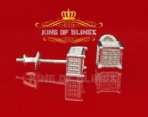 10K White Gold Finish Silver Real Diamond 0.05CT Men's and Women's Stud Earring