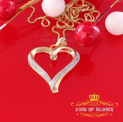 10K Yellow Gold Finish Real 0.08CT Diamond Heart Silver Pendant