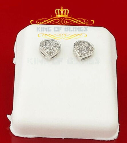 10K White Gold Finish Silver Real Diamond 0.08CT Women's Stud Earring