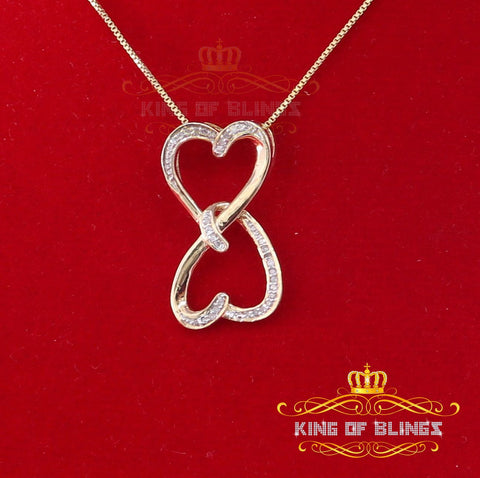 10K Yellow Gold Finish Real 0.10CT Diamond Double Heart Fashion Silver Pendant