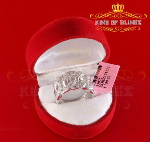 10K White Gold Finish with Real Diamond 0.33ct Silver Miami Cuban Ring Size 9