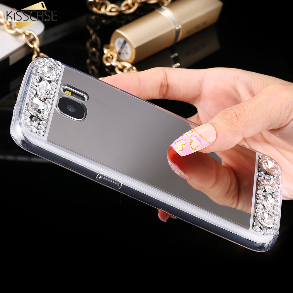 Bling Diamond Case For Samsung Galaxy A5 A3 A7 Glitter Mirror Phone Miror Acrylic Accessories