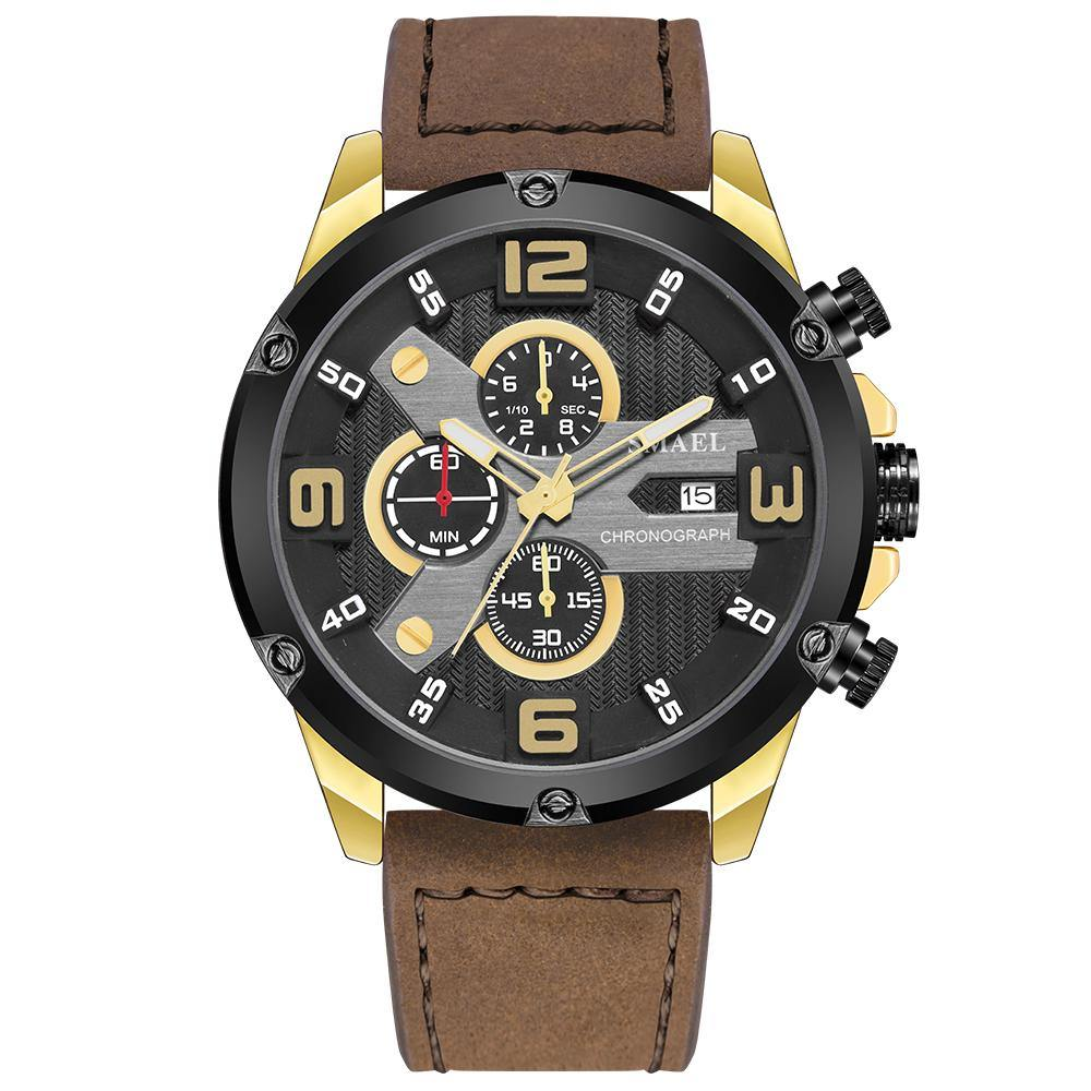Smael 9082 Leather Watch - Golden